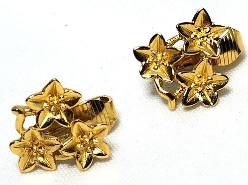Designer by Crown Trifari, earrings, clip on floral motif, gold tone pot metal.