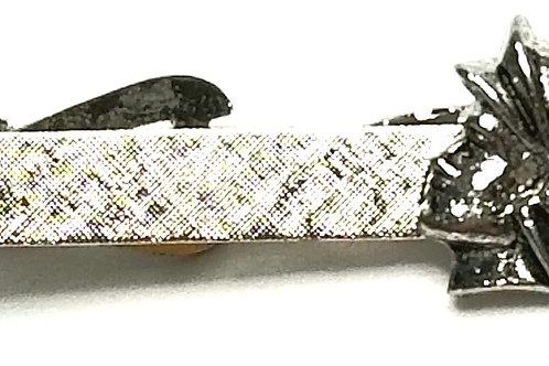 Designer by Provenance, tie clip, Roman soldier motif, brushed silver tone.