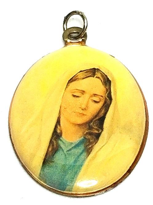 Designer by provenance, pendant or charm, Virgin Mary motif, multi color.