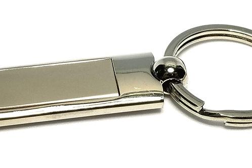 Designer by provenance, key ring, rectangular, stainless steel.