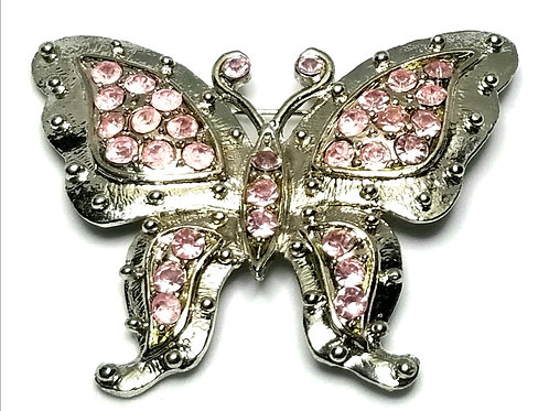 Designer by provenance, brooch, butterfly motif, pink crystals, silver tone.