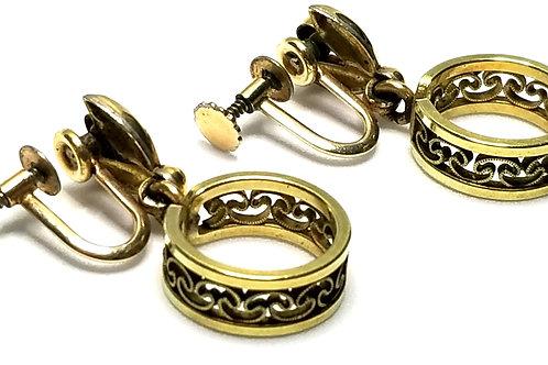 Designer by Krementz, earrings, screw back drops hoops, gold tone, 1 1/4 inches.