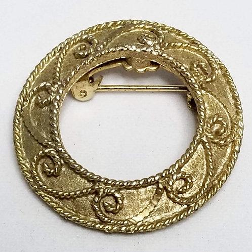 Designer by Marvella, brooch, wreath motif, gold tone pot metal.