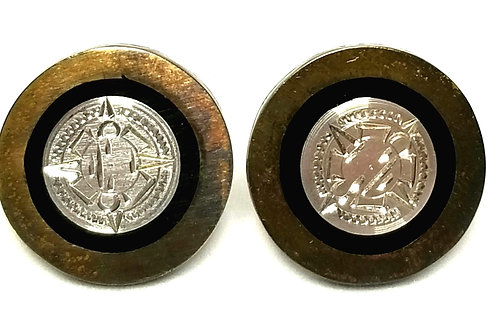 Designer by Provenance, cuff links, black inlay, silver tone and gold tone.