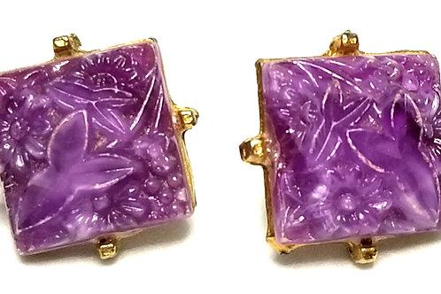 Designer by provenance, earrings, screw back, flower motif, purple cabochons.