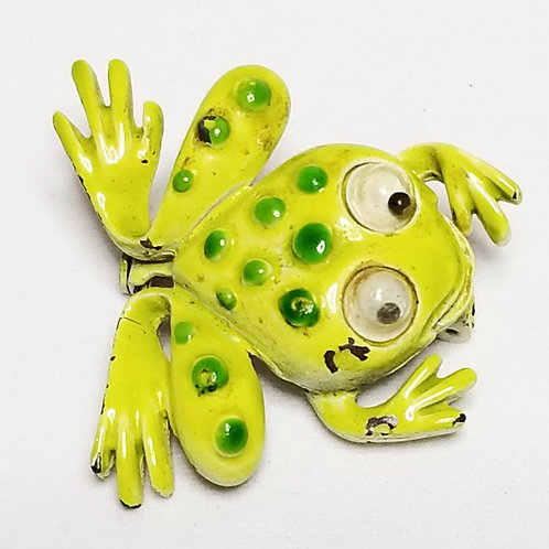 Designer by J.J., brooch, frog motif, green enameled pot metal.