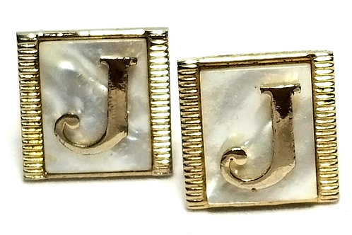Designer by Provenance, cuff links, Mother of Pearl, initial J, 5/8 inch