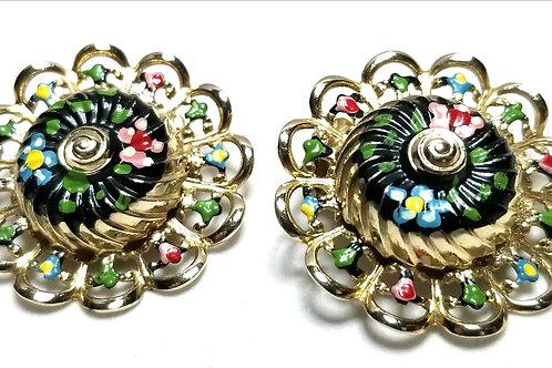 Designer by provenance, earrings, clip on flower motif, multi color, gold tone.