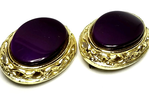 Designer by provenance, earrings, clip on, oval purple cabochons, gold tone.