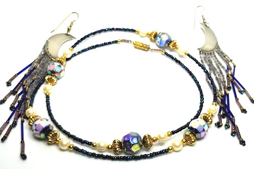Designer by provenance, set, necklace/earrings, blue, gold tone and faux pearls.