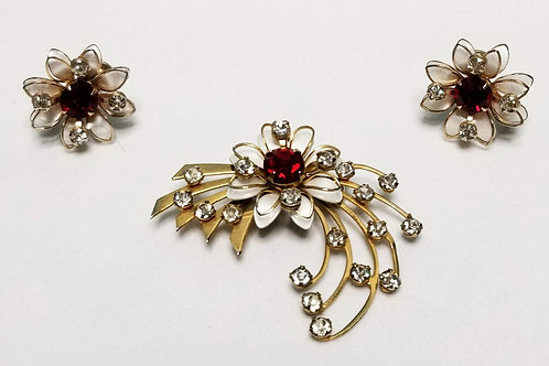 Designer by Prestige, set, brooch and earrings, flower motif, red and white