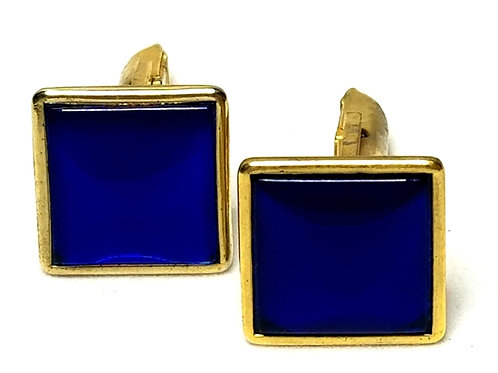 Designer by provenance, cuff links, blue inlay in gold tone pot metal, 1/2 inch