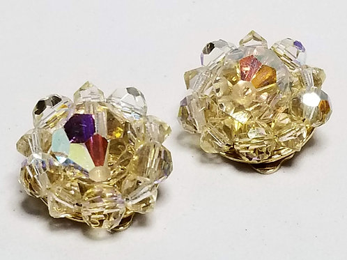 Designer by Lisner, earrings, clip on iridescent faceted beads
