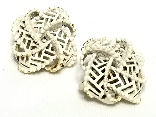 Designer by Crown Trifari, earrings, clip on white knot motif in gold tone.