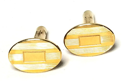 Designer by Provenance, cuff links, brushed gold tone with amber look stones.
