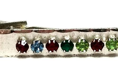 Designer by provenance, tie clip, multi color stones, 12K gold filled.