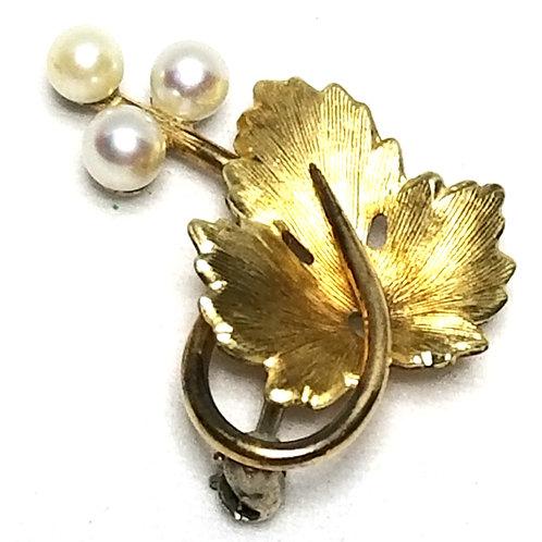 Designer by Krementz, brooch, leaf motif, white faux pearls, gold tone.