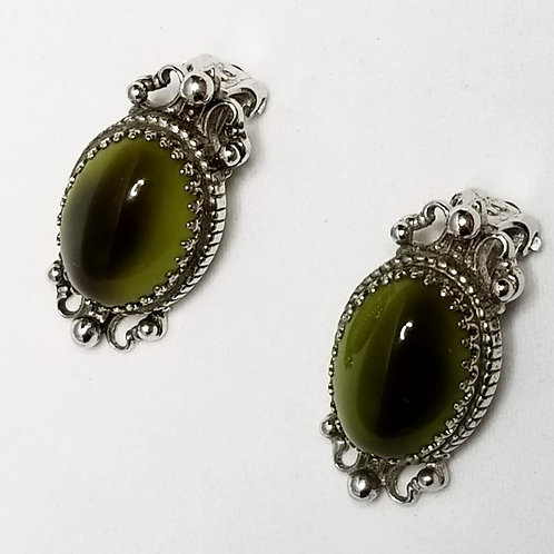 Designer by Whiting & Davis, earrings, clip on green cabochons in silver tone