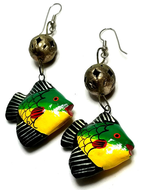 Designer by provenance, earrings, wire dangles, tropical fish motif, multi color