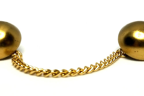 Designer by provenance, buttons, with chain, gold tone, 1 1/2 inches.