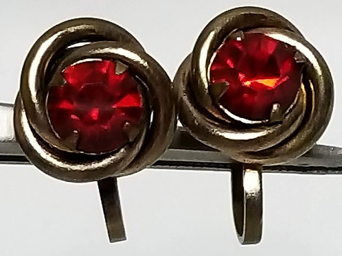 Designer by Nemo, earrings, red rhinestone gold tone pot metal