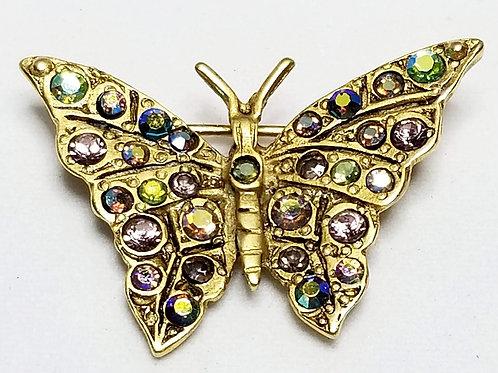 Designer by Whiting & Davis, brooch, butterfly motif, multi colored rhinestones