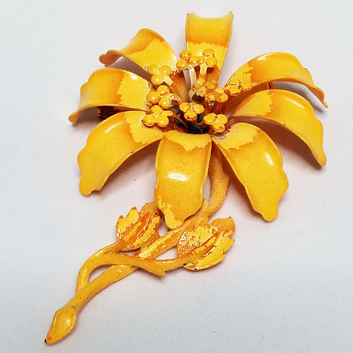 Designer by Hedy, brooch, flower motif, orange pot metal.