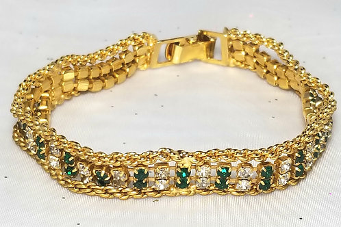 Designer by provenance, bracelet, tennis style, green and clear crystals, 7 inch