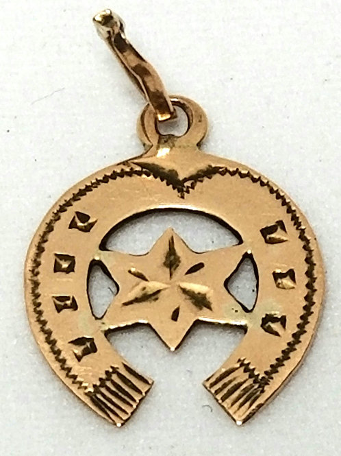 Designer by P.D.L., pendant or charm, horseshoe motif in gold tone.