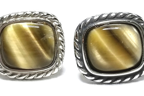 Designer by Hickok USA, cuff links, Tiger's eye stones in silver tone, 34 inch.