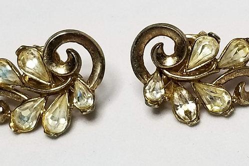 Designer by Trifari, earrings, clip on leaf motif clear rhinestones in gold tone
