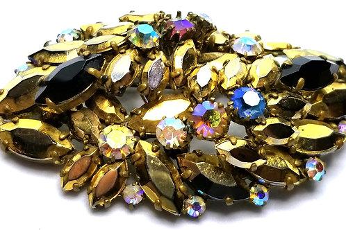 Designer by provenance, brooch, black navettes, AB rhinestones, gold tone.