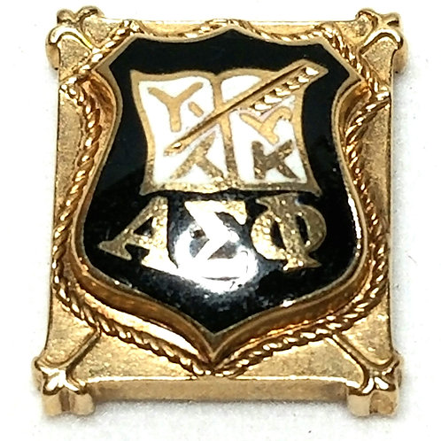 Designer by LGD, pin, Fraternity motif, black in gold tone, 1/2 inch.