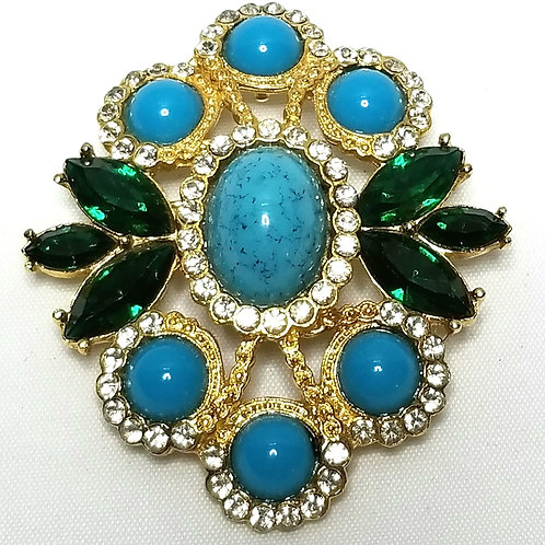 Designer by Sarah Cov, brooch/slide pendant, multi colored cabochons, gold tone.
