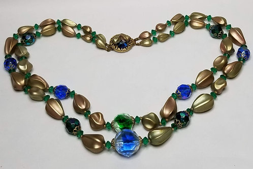 Designer by Juliana, necklace, green, blue and gold colored beads