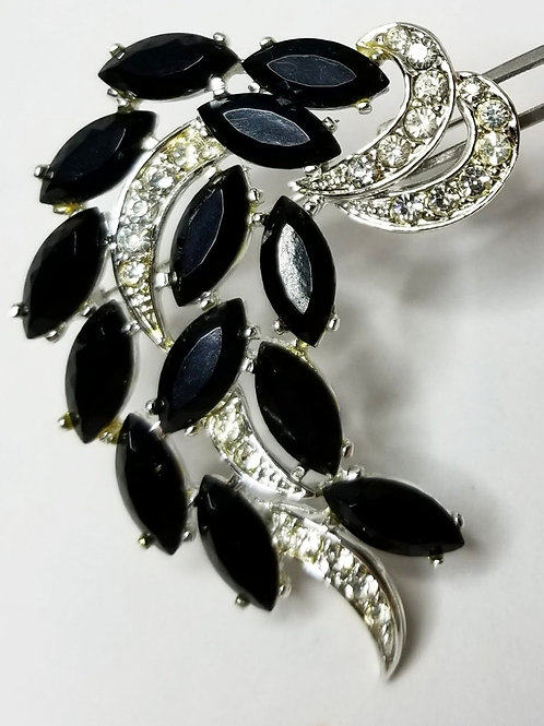Designer by Sarah Coventry, brooch, black and clear rhinestones, cluster motif.
