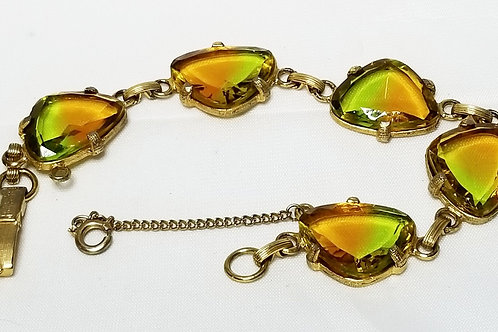 Designer by Judy Lee, bracelet, multi colored glass stones in gold tone