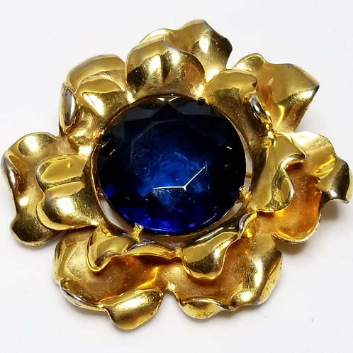 Designer by Eisenberg, brooch, flower motif, blue faceted cabochon in gold tone.