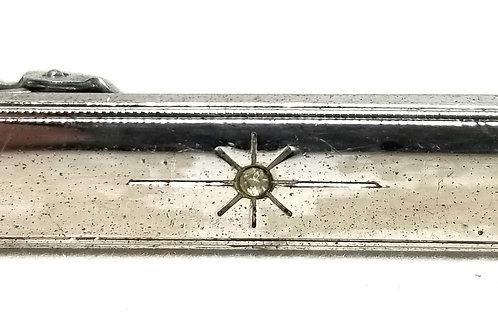 Designer by Anson, tie clip, round rhinestone, silver tone.
