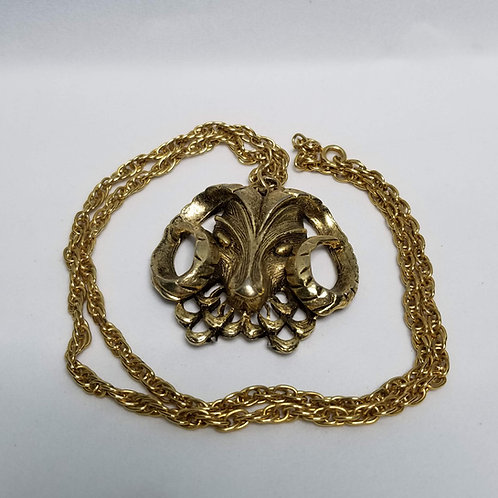 Designer by Daco, neck wear, necklace, animal motif, ram's head, gold tone