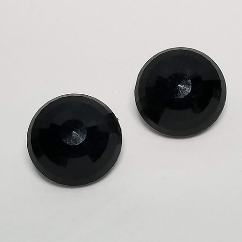 Designer by Dalsheim, earrings, clip on, black faceted cabochons in silver tone.