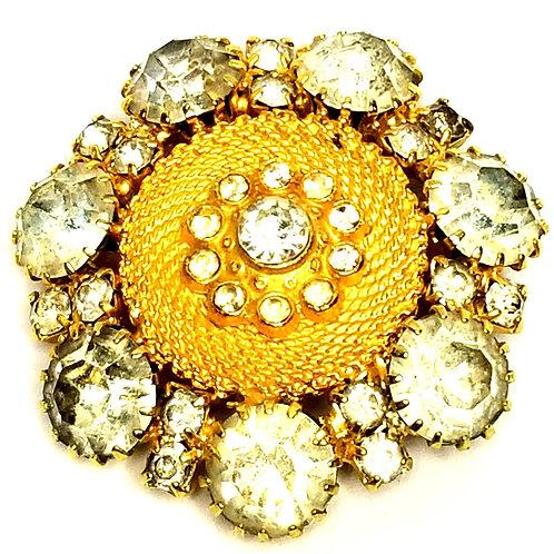 Designer by provenance, brooch, flower motif, clear rhinestones, gold tone, 2 in