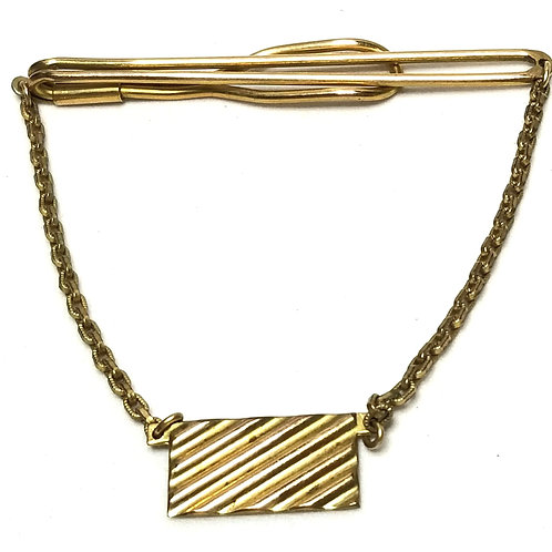Designer by Swank, tie clip with chain, 10K gold filled, 2 1/2 inch.