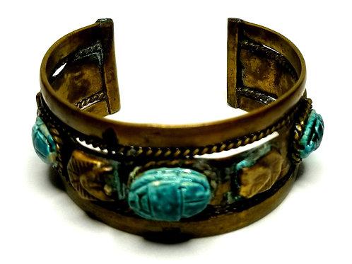 Designer by provenance, bracelet, cuff, Egyptian motif, turquoise color stones.