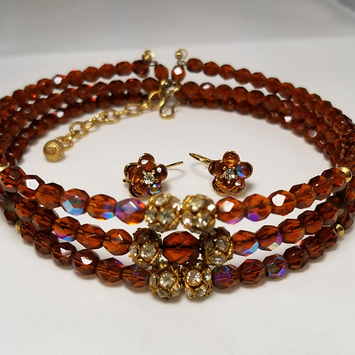 Designer by provenance, set, choker and earrings, brown and AB crystal beads