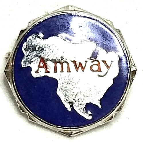 Designer by provenance, pin, Amway motif, multi color in silver tone.