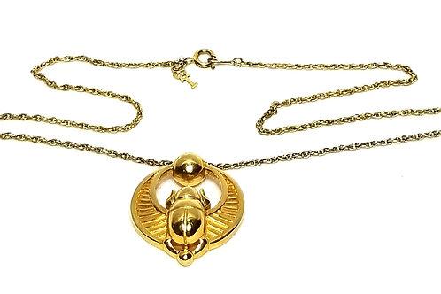 Designer by Crown Trifari, necklace, Scarab motif, 18 inch gold tone pot metal