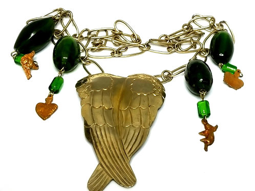 Designer by provenance, necklace, angel wings motif, green beads, gold tone.