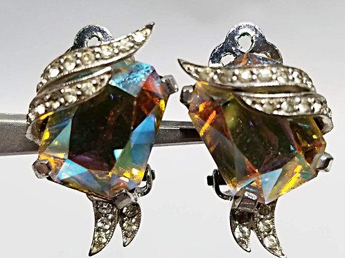 Designer by Jomaz, earrings, clip on multi colored rhinestones in silver tone