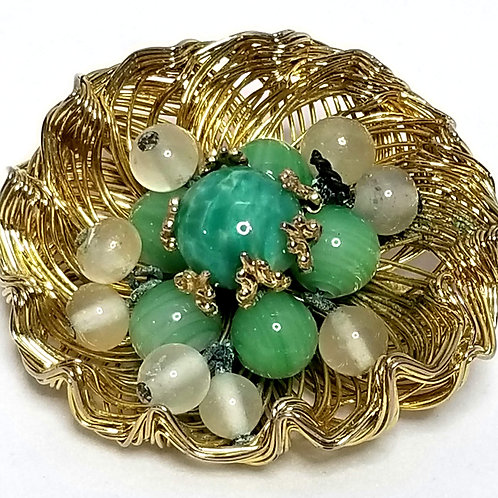 Designer by Weiss, brooch, basket weave motif, green and clear beads, gold tone.